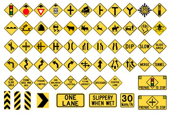 Variety of warning signs