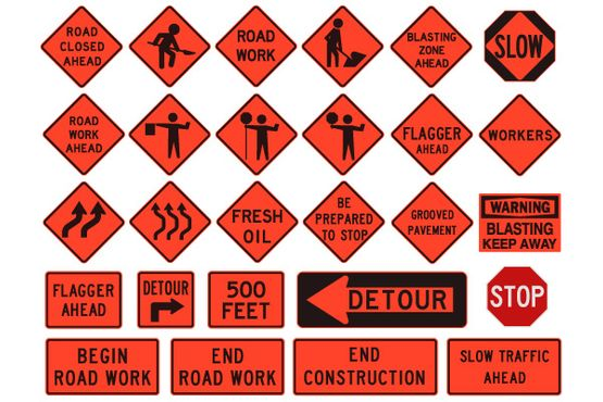 Variety of temporary conditions signs